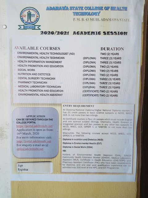 CHT Mubi Admission Form 2020/2021 | ND, HND & Certificate Courses