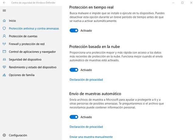 deshabilitar el Windows Defender en Windows 10