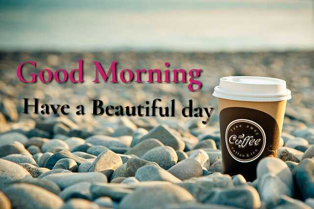 Awesome Good Morrning image with coffee cup at stones