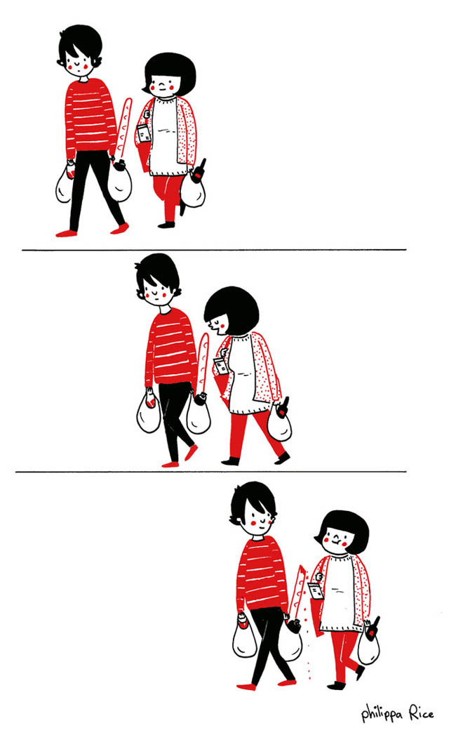 Heartwarming Illustrations Show That True Love Is In The Little Everyday Things - Even shopping for food can be exciting