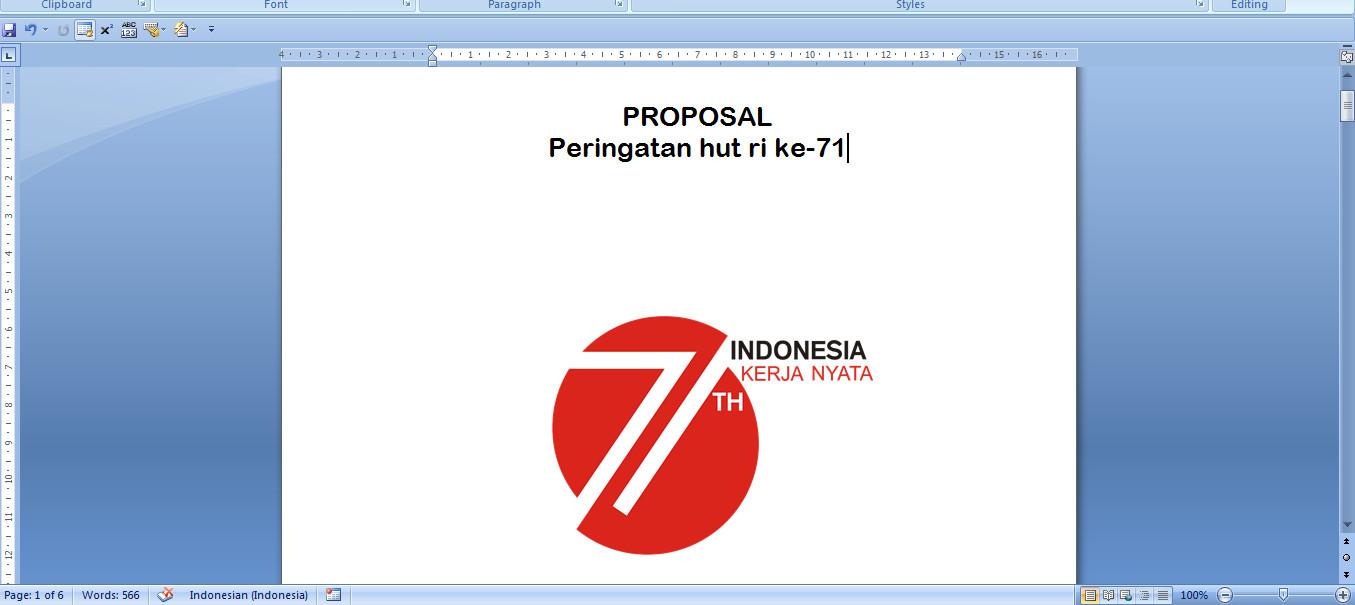 Proposal 17 Agustus HUT ke 71 (Hari Ulang Tahun) Kemerdekaan RI Download Gratis