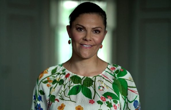 Crown Princess Victoria wore a floral print dress from Rodebjer. Rodebjer Adania floral print silk blouse and Irmaline floral print silk skirt