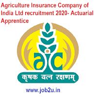 Agriculture Insurance Company of India Ltd recruitment 2020- Actuarial Apprentice