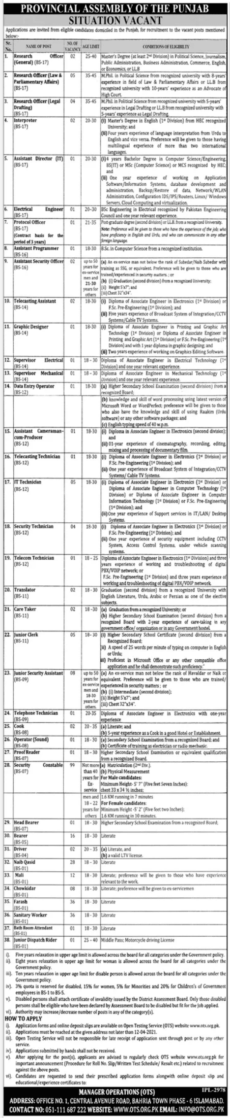 Latest Provincial Assembly of the Punjab Jobs