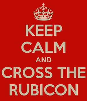 Q: Cur transire ad Rubiconem pullum? A: Ut ad alterum latus.