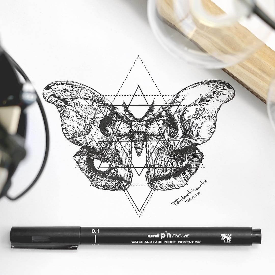 11-Stare-Moth-Joseph-Catimbang-Detailed-Black-and-White-Ink-Drawings-www-designstack-co