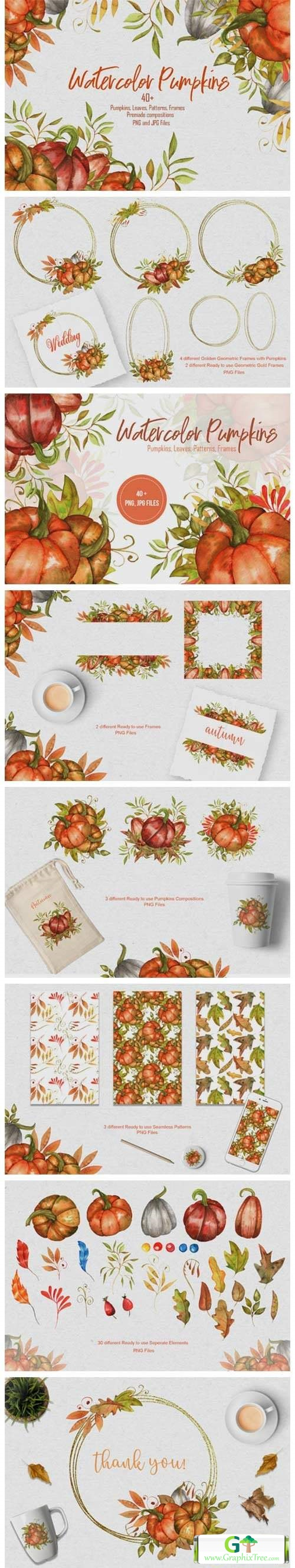 Watercolor Pumpkins Collection [Stock Image] [illustrations]