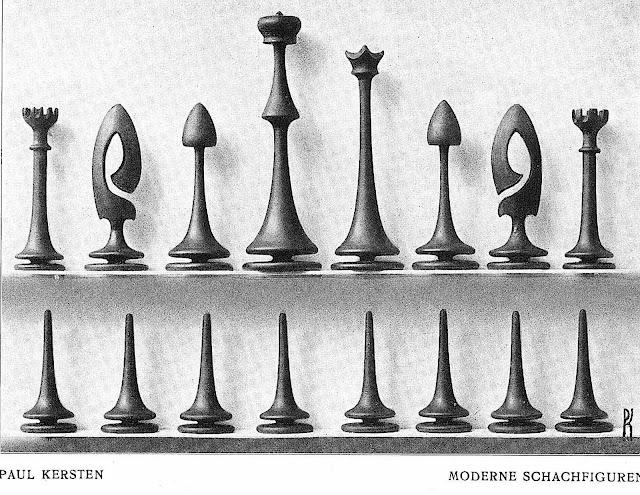 a Paul Kersten 1902 modern chess set, modern schachfiguren