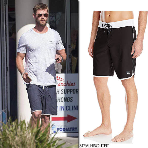 Chris Hemsworth in grey t-shirt and black shorts quiksilver what she wore july 2017