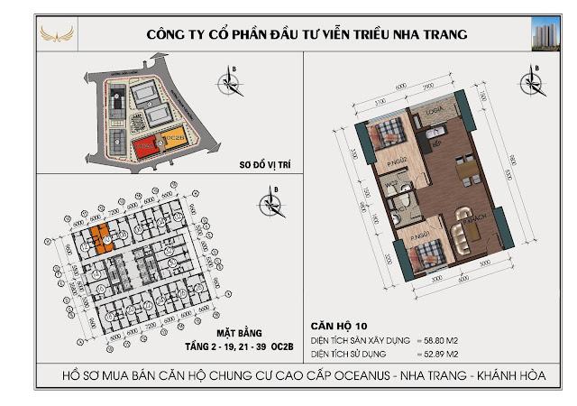 Sơ đồ căn hộ số 10 tòa OC2BViễn Triều Nha Trang
