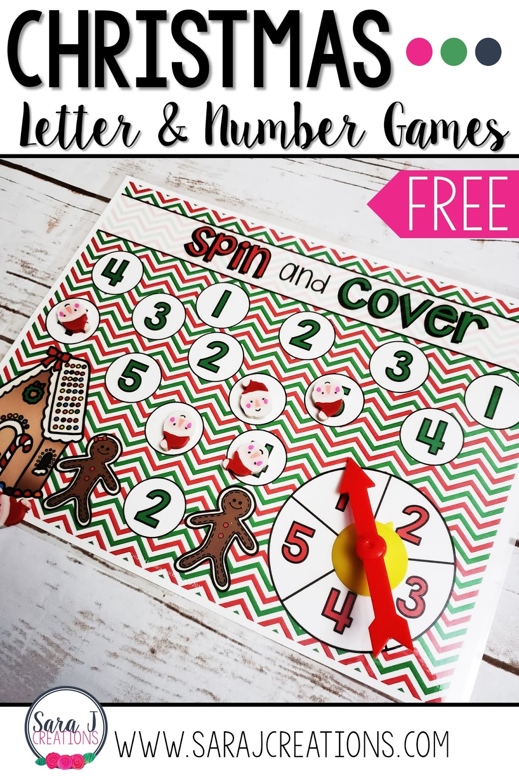 Free Christmas alphabet and number practice games perfect for preschool or kindergarten in the month of December