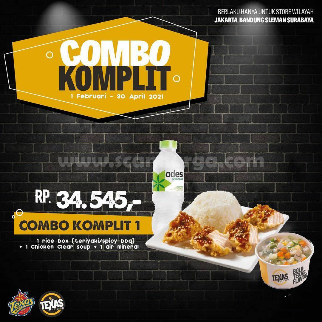 Texas Chicken Promo Combo Komplit! harga mulai Rp 34.545 per paket