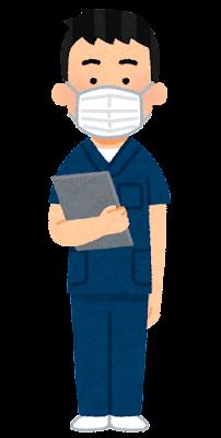 紺色のスクラブを着た医療従事者のイラスト(男性)