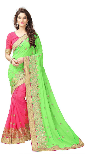 Koroshni Women's Half And Half Georgette Embroidery Saree With Blouse Material - Best selling georgette saree amazon below 1300
