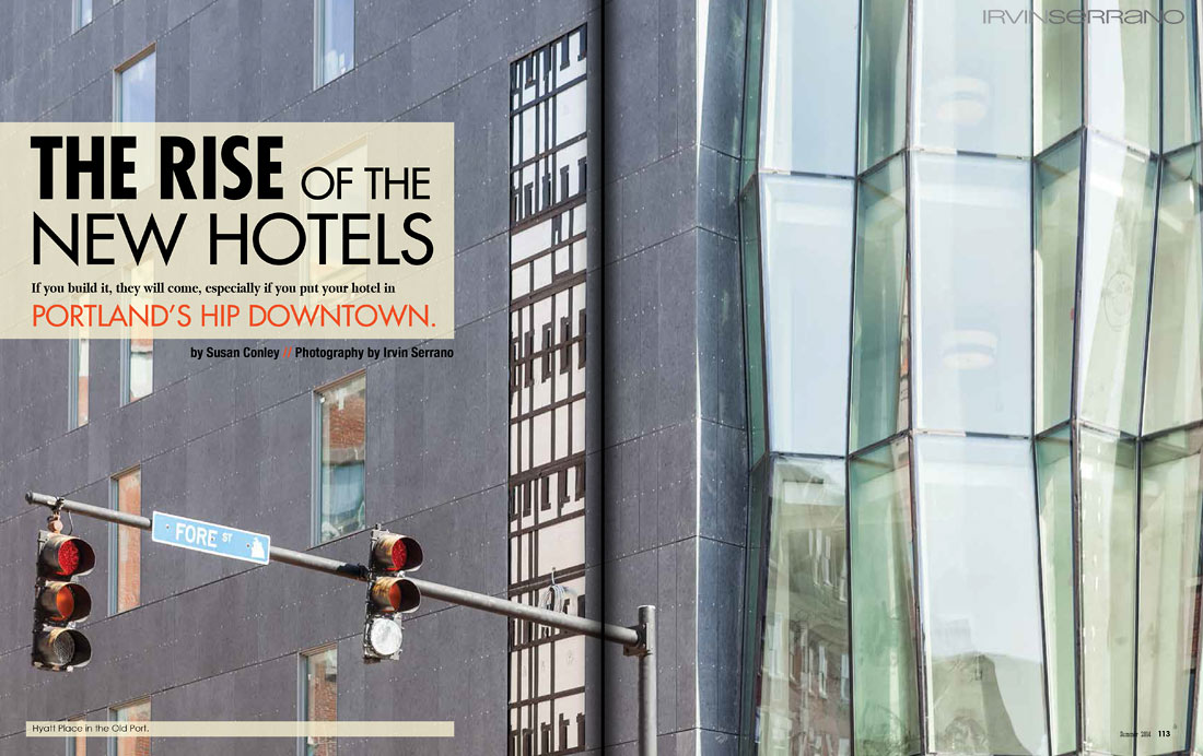 The exterior of th Hyatt Place Hotel in Portland Maine's Old Port District featured in a spread in Old Port Magazine.