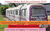 Gujarat Metro Rail Recruitment 2018 –17 General Manager, Assistant Manager