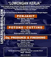 Lowongan Kerja Surabaya Juli 2019 di Home Industri Konveksi dan Sablon
