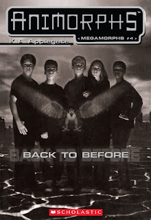 The five Animorphs stand together with a hawk flying in front of them