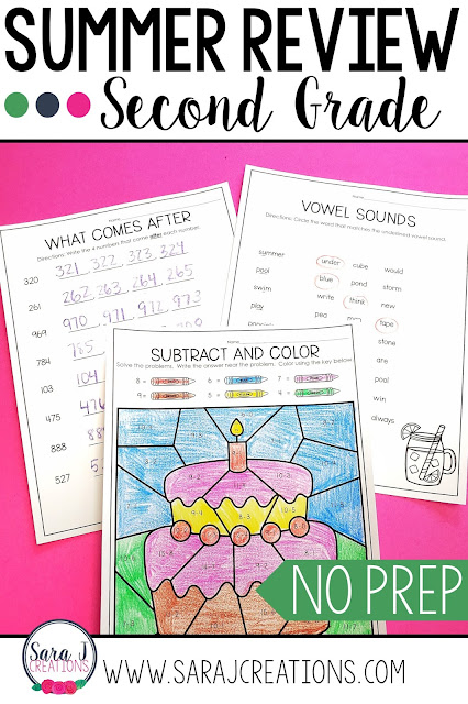 Second Grade Summer Review packet includes 80 pages of no prep work to help prevent summer slide.  Some of the topics covered telling time, fractions, money, place value, graphing, writing, sight words and more!