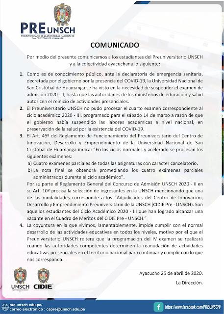 COMUNICADO A LOS ESTUDIANTES DEL PREUNIVERSITARIO UNSCH Y A LA COLECTIVIDAD AYACUCHANA