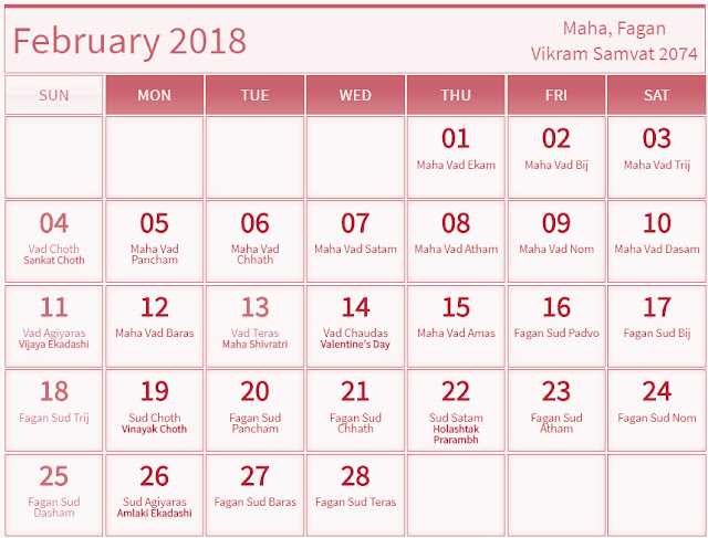 February 2018 Hindu Calendar with Tithi