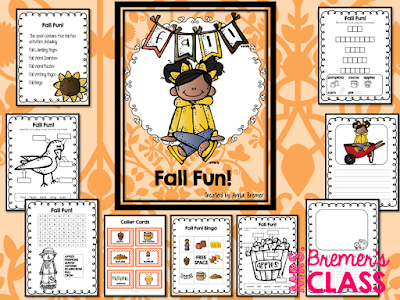 Fall Fun activity pack for Kindergarten and First Grade