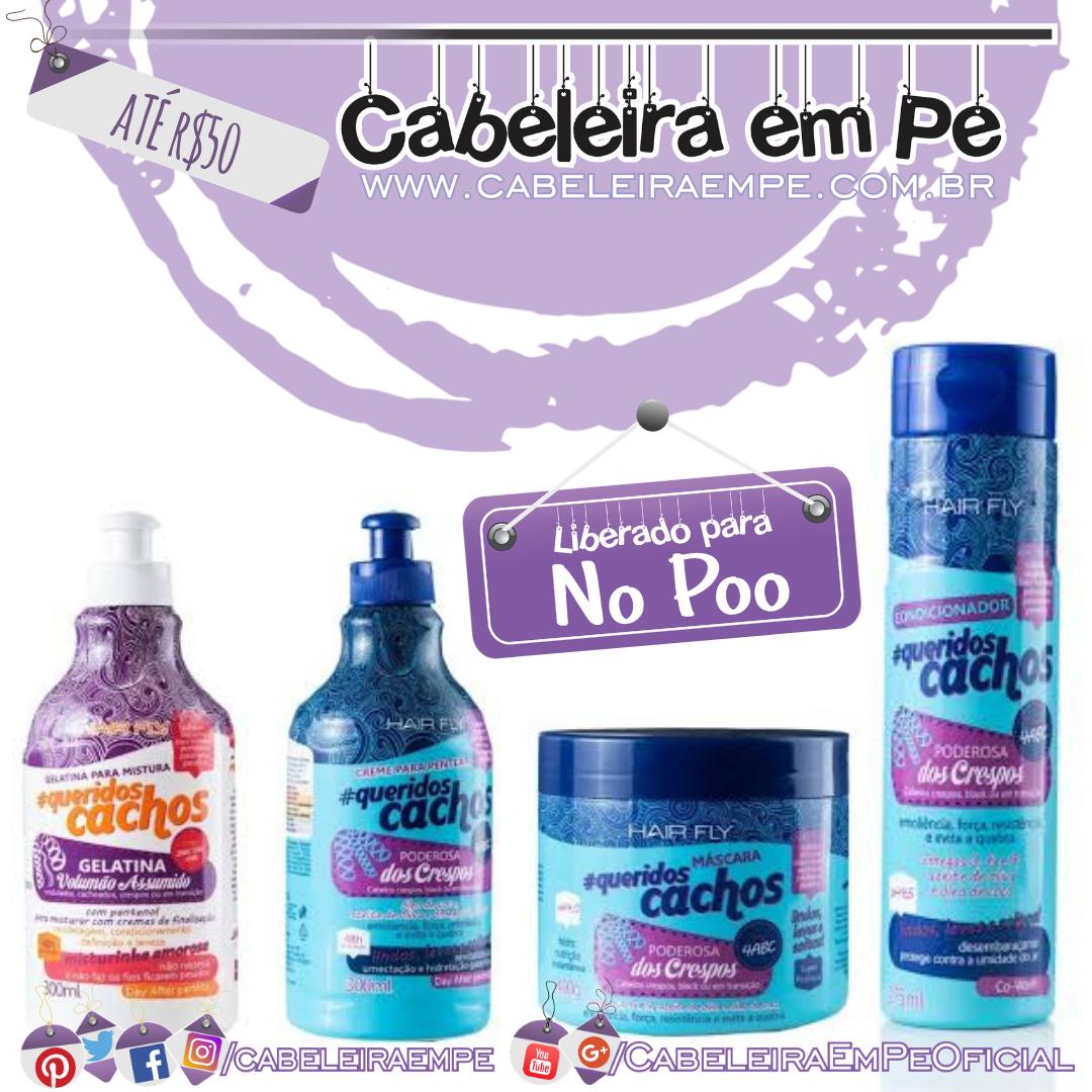 Máscara, Condicionador, Creme para Pentear e Gelatina (liberados para No Poo) - Hair Fly - Kit No Poo Barato