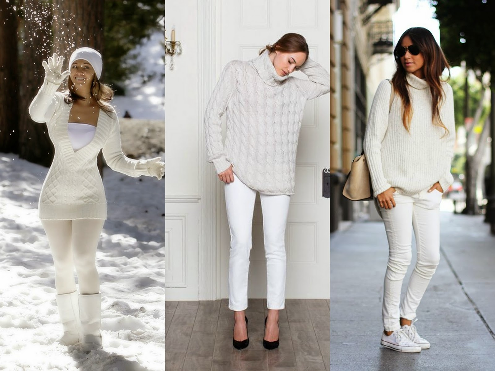kış modası beyaz kombin
