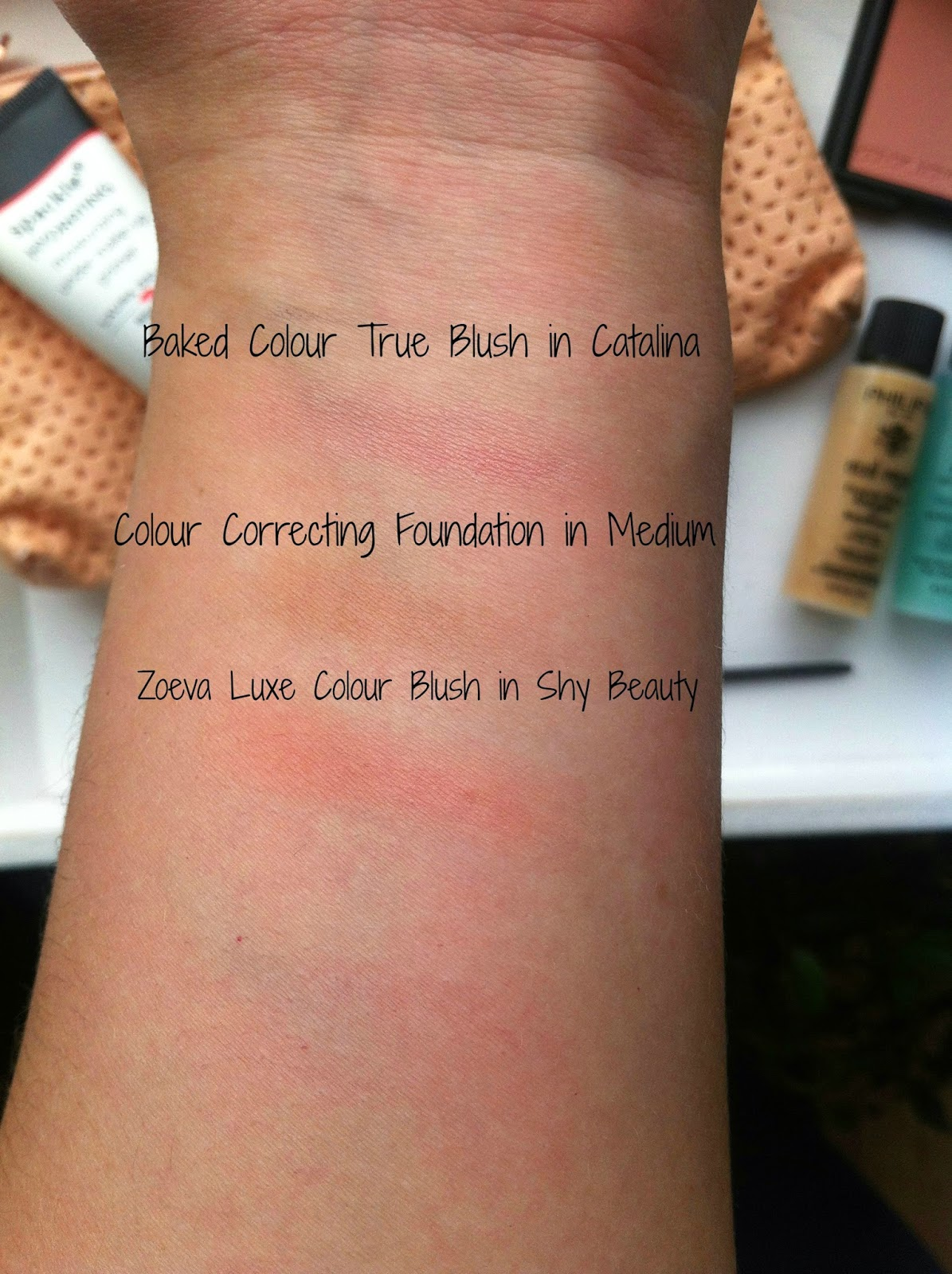 "<img src=""swatches.jpg"" alt=""laura geller flawless in a flash beauty bay Baked Balance-N-Brighten Colour Correcting Foundation Baked Colour True Blush in the shade Catalina zoeva luxe blush shy beauty swatch swatches"">"