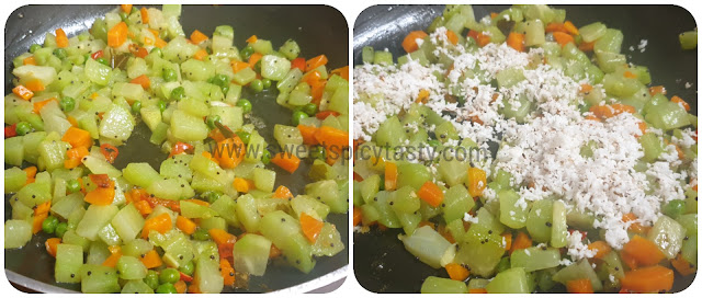 A simple home style south indian poriyal using carrots , chow chow (chayote) and fresh peas , chou chou karamindh , karmindh, chow chow karamedhu, chou chou poriyal , south indian style coconut poriyal , carrot chayote stir fry , indian style chayote squash curry