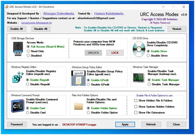 URC Access Modes:  Κλειδώστε ή καθορίστε την κατάσταση λειτουργίας στις θύρες USB