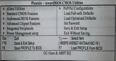 Fungsi Setiap Menu Bios Dalam Setting Komputer.