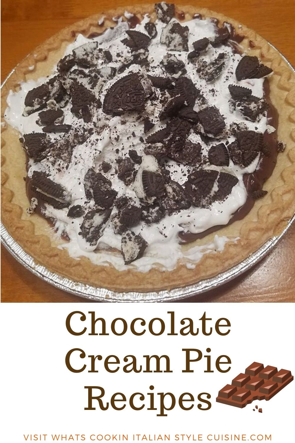 this is a chocolate cream pie with crushed oreos on top and whipped cream pin for later