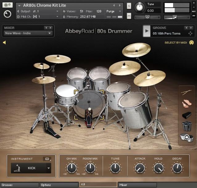 Interface da Library Native Instruments - Abbey Road 80s Drummer 1.3 (KONTAKT)