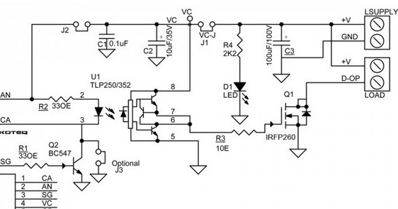 Circuit Schematic DC Output Solid State Relay 10Amps 60V