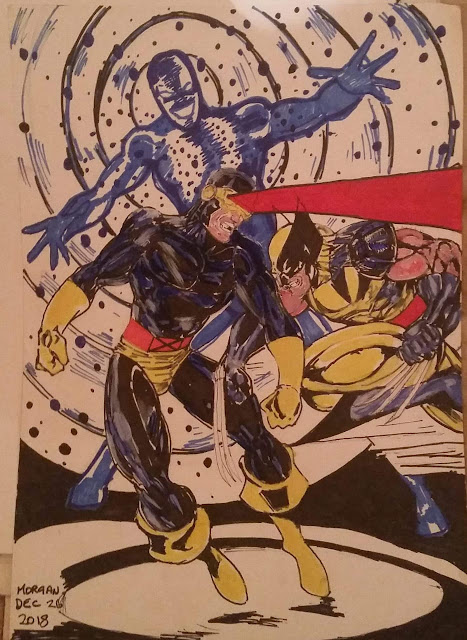 A painting of Cyclops fighting Wolverine made by artist Eddie Morgan.