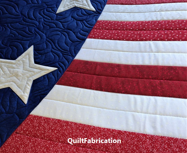 Patriotic Wave quilting closeup by QuiltFabrication