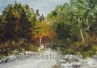 Marche en forêt en automne, huile 5 x 7 par Clémence St-Laurent