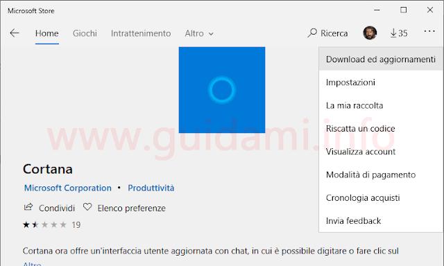 Windows 10 Microsoft Store pagina Cortana