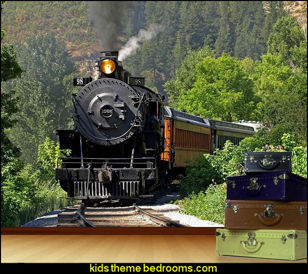 Steam Train mural  Train themed bedroom decorating ideas - boys bedroom train theme decor  - train themed beds - train themed furniture - train theme bedding - train theme decorations - Thomas the tank bedroom - Thomas the tank theme bed - old world train themed bedroom - vintage style trains wall murals - choo choo trains wall decal stickers - Train Theme furniture