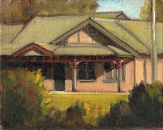 Oil painting of an Edwardian-era weatherboard building with a verandah and green roof.