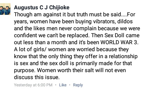 Some Nigerian guys say women are jealous of the new Sex Dolls...lol