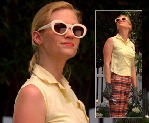 Betty Draper in cropped pants and cat eye sunglasses