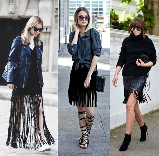 black tassel fringe skirt