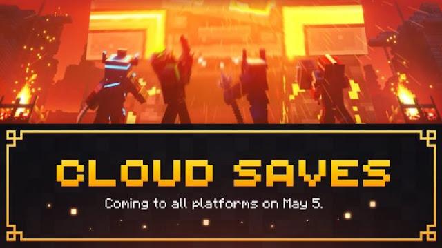 """Minecraft Dungeons receberá """"cloud saves"""" em todas as plataformas a partir de 5 de maio."""