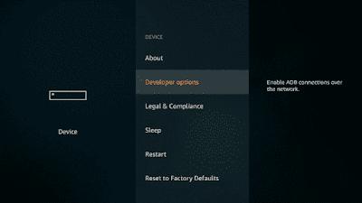 3. Choose the Developer Option