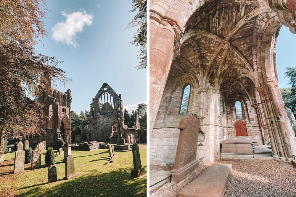 travel blogger Amanda Martin visits Dryburgh Abbey ruins in Scotland