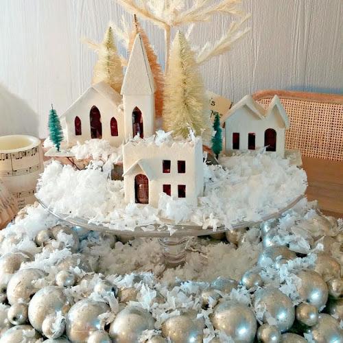 Christmas Decorating - A Putz House Table Centerpiece