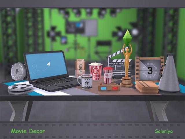 Movie Decor Кино декор для: The Sims 4 Все, что вам нужно для вашей киностудии или кинотеатра. Включает в себя 13 декоративных предметов. Черный, серый и коричневый цвета, 1-3 цветовых вариации для каждого объекта. Предметы в наборе: - билеты в кино - металлическая коробка - мегафон - декоративный ноутбук - обшивка - два вида бобин - Попкорн - напиток - кружка - симс оскар - 3D очки - кино-хлопушка для кадров.