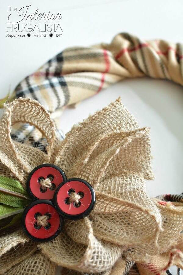 Fake Burberry Scarf Fall Wreath With Button Berries